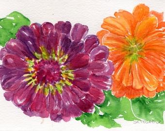 Original Zinnias Watercolors Paintings  5 x 7 inches, original watercolor painting of purple zinnia, orange zinnia flower art