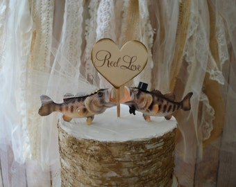 Large bass wedding cake topper fishing themed bride and groom kissing fish fishing wood wedding sign fisherman cake topper decorations