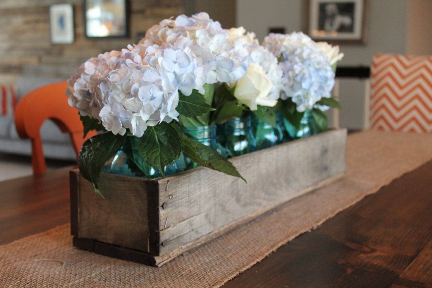 Rustic Wood Centerpieces : Rustic wooden planter centerpiece box home decor wood