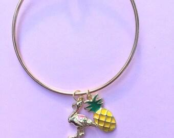 Summer Charm Bracelet, Flamingo Jewelry, Pineapple Jewelry, Southern Bracelet, Gifts under 50, Summer Jewelry,  Stackable Bracelet, Tropical