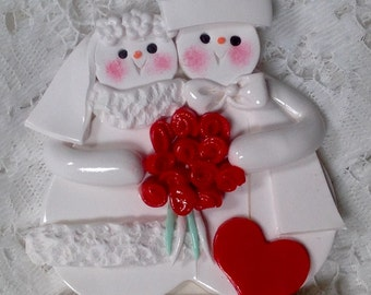 POlymer Clay Snowmen Wedding Couple With Red Roses personalized Ornament!
