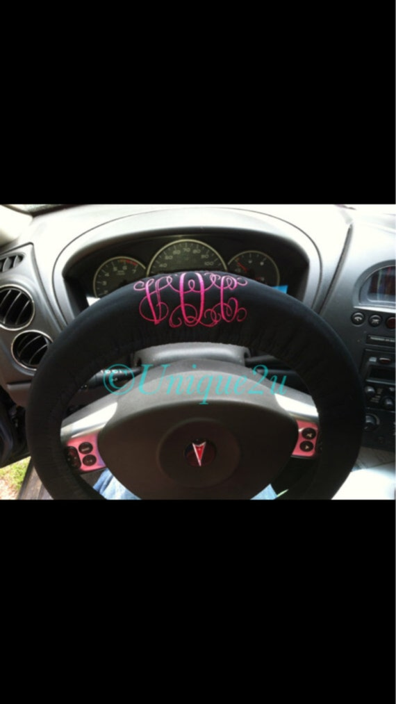 Custom monogrammed steering wheel cover