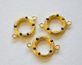 Textured Circular Gold Vermeil Hoop with Inlaid Black Cubic Zirconia Connector 19 x 13mm