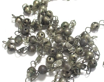 Vintage 6Ft SilverTone Metal Ball and Filigree Chain - Mexican Wedding Necklace - Bohemiam Gypsy Tribal Boho Ethnic and Festival Style Decor