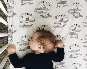Whale Baby Bedding ORGANIC - Fitted Crib Sheet / Mini Crib Sheets / Changing Pad Cover / Nautical Baby Bedding / Etsy Baby Bedding
