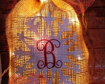 Snowflake Burlap Lighted Bag
