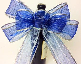 Blue Silver Lace Gift bow Birthday Shower bow Bridal Shower bow Gift Basket Birthday Gift Bows Birthday bows Gift wrap Bow Wine Bottle Decor