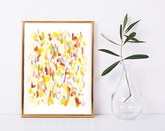 Yellow Gray Earth Tones Abstract Printable - Abstract Art Print - Expressionst Art Print - Modern Art Print - Modern Home Decor - 9x12 Print
