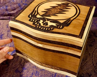 GRATEFUL DEAD Customized Wood Burned Wooden Box