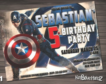 The Avengers Birthday Party Invitation customized printable invite for boys or girl of any age + Free Thank You Card