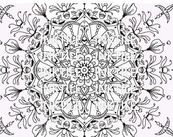 Mandala Coloring Page, Relaxing, Coloring Sheet, Adult Coloring Book