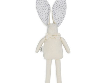 Bunny Rag Doll with Silver Stars Print Ears - Toddler and Baby Gift - Little Girl Gift - Little Boy Gift - Organic Doll - Personalized Gift