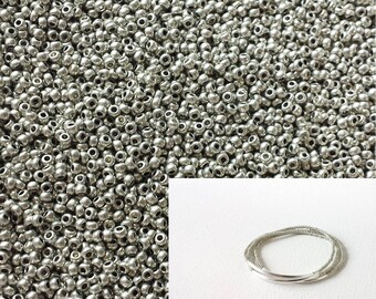 Silver seed beads 11/0, metallic beads,DIY jewelry,tiny beads,small beads,jewelry supplies,2mm beads,glass beads, 2mm beads,silver beads