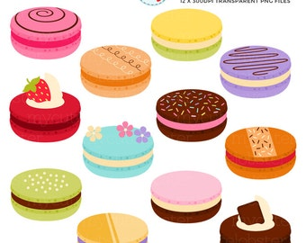Macaron Clipart Set - fancy french macarons, decorated macarons, cookies, pastries - personal use, small commercial use, instant download