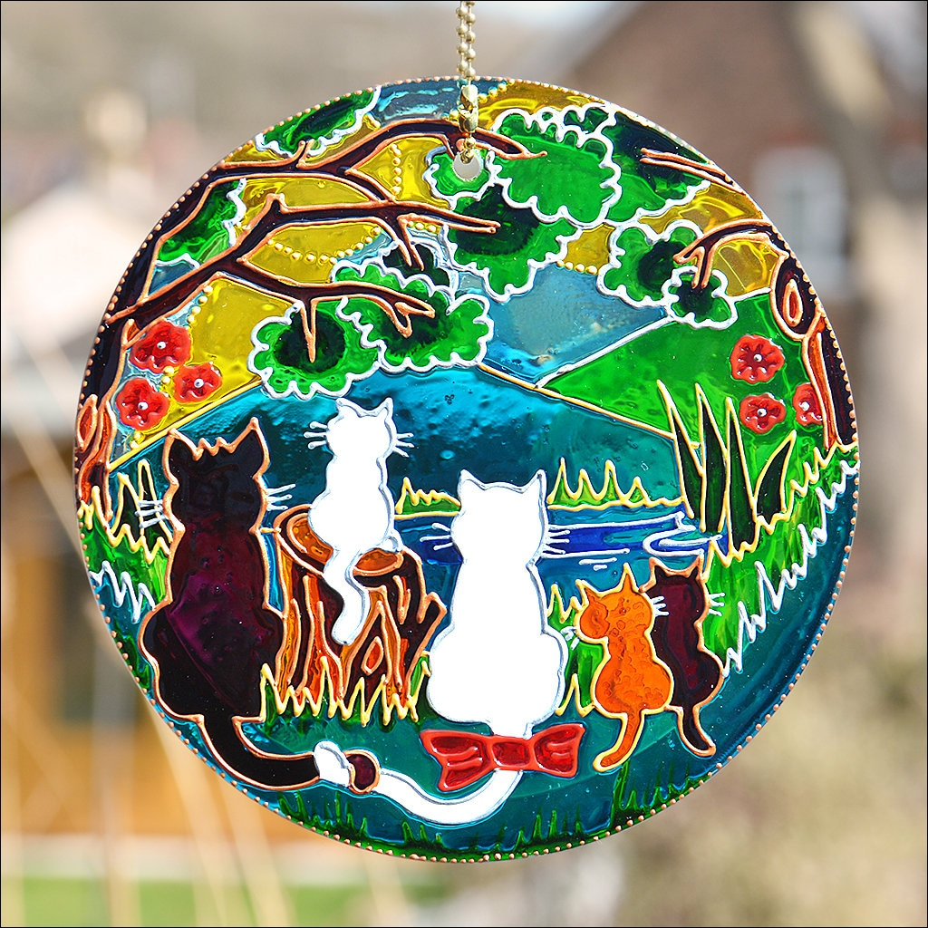 Stained Glass Cat Family Gift Cats and Kittens Forest Sun