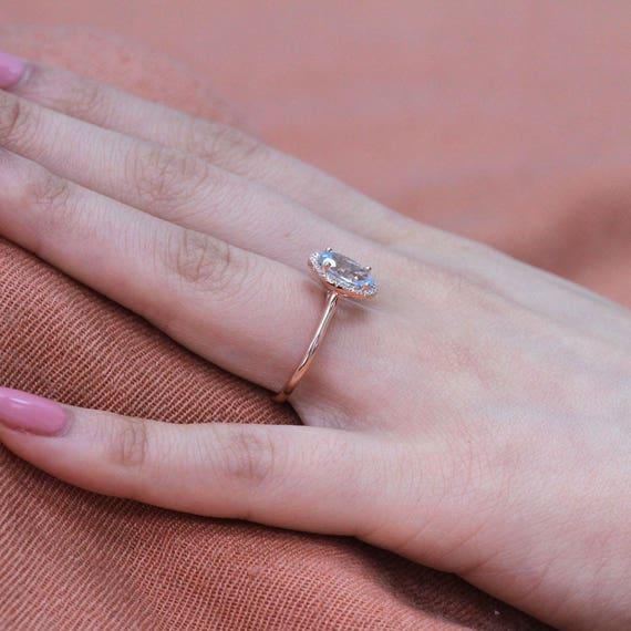 Handmade Natural Aquamarine Engagement Ring 9x7mm Oval
