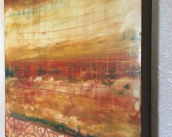"Encaustic Art 18""x18"" Red Yellow Cream Wax Painting on 1.5"" wood panel"