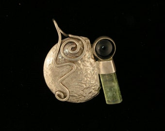 Sterling, Onyx, and Raw Green Tourmaline Crystal Handcrafted Pendant