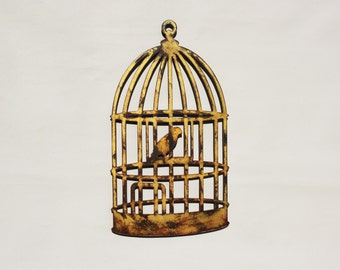 "Birdcage with bird - metal wall art - 22"" tall - bird in cage - gold and yellow with rust accents patina - steel art"