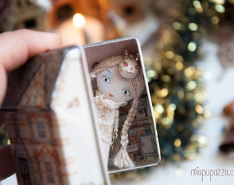 Little Bunny Girl and her Tiny House, Art Doll Brooch, Christmas gift for her