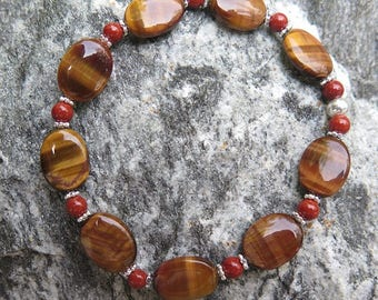 Tiger's Eye Bracelet combined with red Jesper and 925 Silver