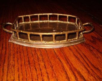 Vintage Brass Faux Bamboo Vanity Tray