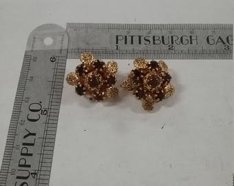 Goldtone Clip Earrings Rhinestone Missing Petals