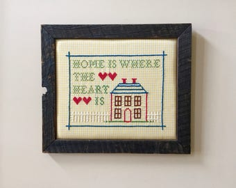 Home Is Where The Heart Is Home Sweet Home Cottage Decor Housewarming Gift Home Gifts For New Home Wall Decor Rustic Frame Yellow Gingham