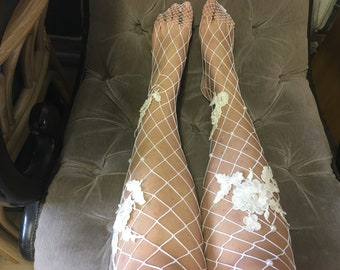 Large Fishnet White Tights with Floral Embroidery Applique and Faux Pearls Embellished Panty Hose Handmade Dress Up Hosiery