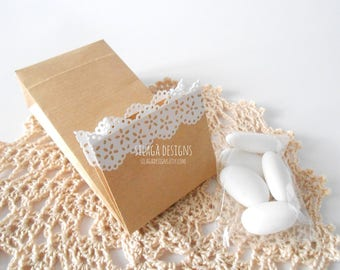 Original paper bag with white paper lace, candy almonds bags, Italian wedding favors kraft paper bag, party bags, custom gift bag, packaging