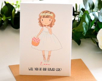 Flower Girl Proposal Will You Be Our Flower Girl Card, Flower Girl Gift Personalized Gift Flower Girl Invitation Custom Greeting Card