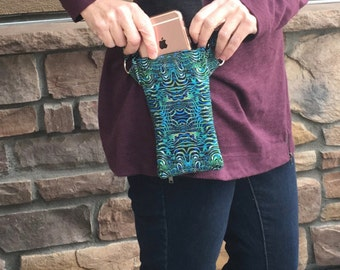 Cell phone purse that secures your phone, cross body purse in designer fabric, tiny purse for travel, comfortable and chic body purse