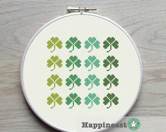 modern cross stitch pattern shamrock, PDF  ** instant download**