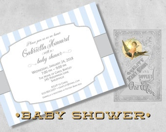 Classic, Simple Baby Boy Shower Invitations -  Printed Baby Shower Invitations for a Boy with Stripes - Blue, Grey, White