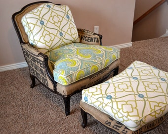 French Style Bergere Arm Chair Vintage Upcycled Upholstered with Coffee Sacks and Ottoman