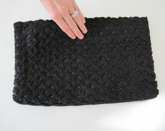 Vintage Crocheted Black Oversized Large Clutch from the 1960s with Zipper Closure - Summer Purse