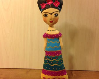 Mexican icon doll hand painted famous Mexican painter OOAK art doll women collectible cloth doll rag doll iconic women artist