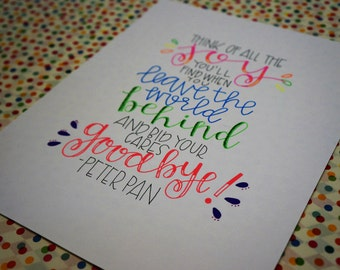 Peter Pan -- Imagine all the Joy You'll Find When you Leave the World Behind and Bid Your Cares Goodbye