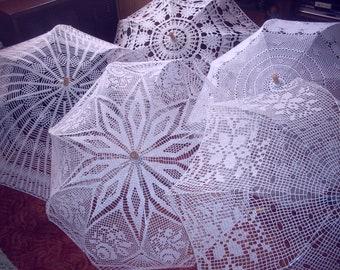 Crochet umbrellas and parasols