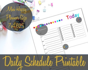 Daily Schedule Mini Happy Planner Hourly Insert, Recollections Insert, Daily Docket, Mini Happy Planner Inserts, Create 365-INSTANT DOWNLOAD
