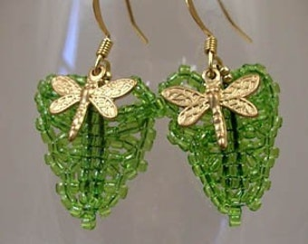 Beadwoven Green Leaf and Brass Dragonfly Earrings