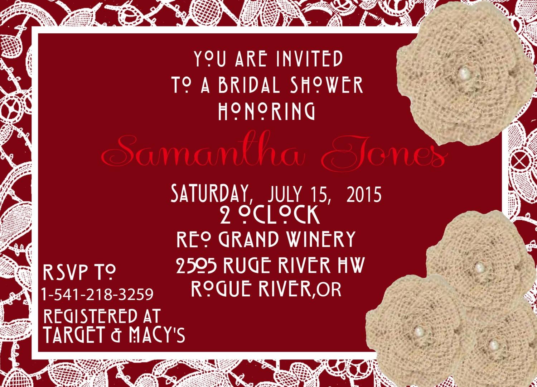 Dorable Country Chic Bridal Shower Invitations Mold - Invitations ...