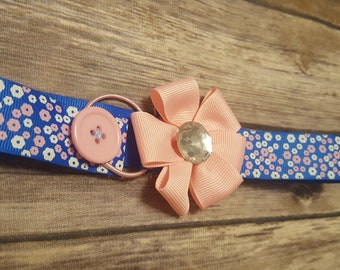 Bookmark. Blue with Pink and White flowers.
