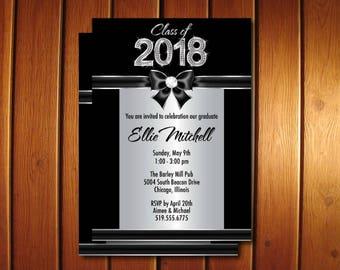 Silver Graduation Party Invitations - Diamond Graduation Announcement - College or High School Senior