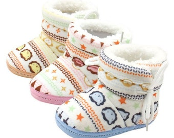 Winter Warm Fleece Soft Soled Crib Shoes Girl Toddlers Snow Boots Brown/Pink/Blue By DoraBoutique