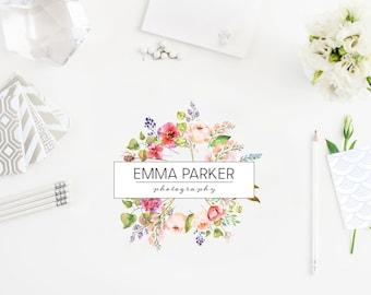 Premade logo and branding design - Photography logo - Floral Logo - Flower wreath logo - Branding Logo  - Pre-made Logo - Flower Logo
