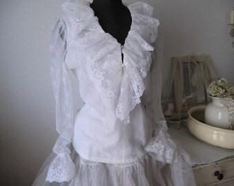 Vintage romantic Victorian lace blouse England