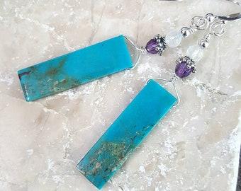 Turquoise Natural Gemstone Earrings, Gemstone Slab Earrings, Sterling Silver, Boho Earrings, Gemstone Jewelry, Gift for Her, December Birth