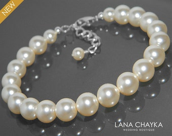 Pearl Bridal Bracelet Swarovski Ivory Pearl One Row Bracelet Wedding Ivory Pearl Silver Bracelet Bridesmaids Pearl Jewelry Prom Bracelets