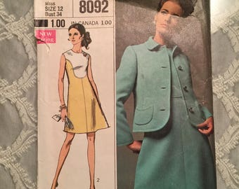 1960s Sleeveless Dress and Jacket Pattern Simplicity 8092 Bust 34 Designer Fashion 60s Class Jackie 0 Style Suit Vintage 1969